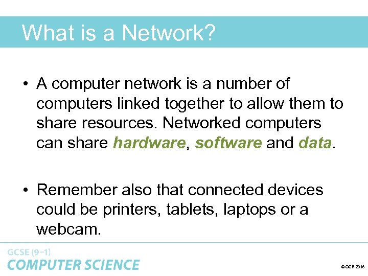 What is a Network? • A computer network is a number of computers linked