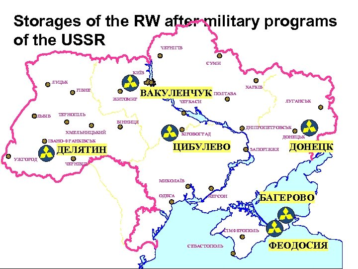 Storages of the RW after military programs of the USSR ЧЕРНІГІВ СУМИ КИЇВ ЛУЦЬК