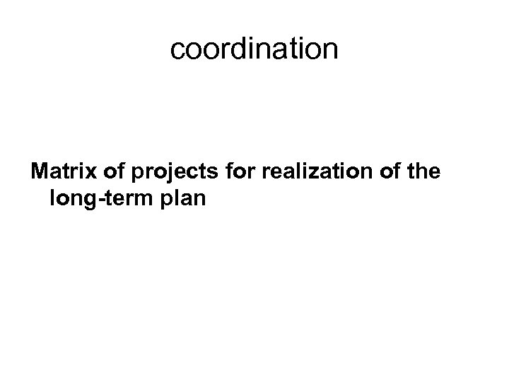 coordination Matrix of projects for realization of the long-term plan
