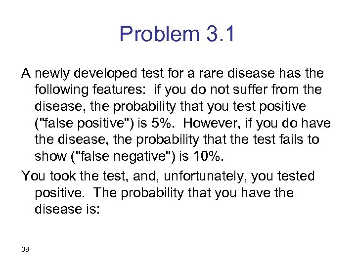 Problem 3. 1 A newly developed test for a rare disease has the following