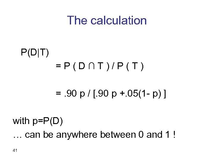 The calculation P(D T) =P(D∩T)/P(T) =. 90 p / [. 90 p +. 05(1 -