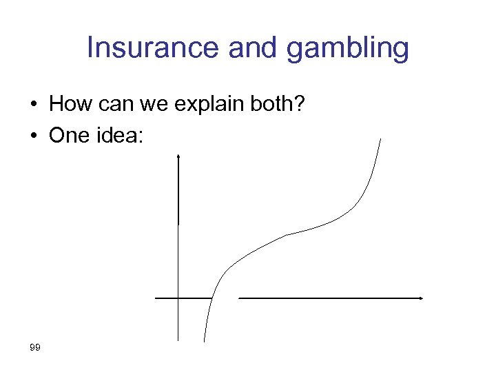 Insurance and gambling • How can we explain both? • One idea: 99