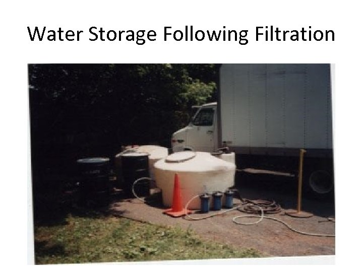 Water Storage Following Filtration
