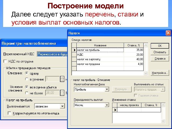 Построение модели Далее следует указать перечень, ставки и условия выплат основных налогов.