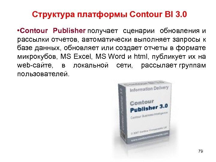 Структура платформы Contour BI 3. 0 • Contour Publisher получает сценарии обновления и рассылки
