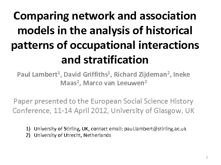 Comparing network and association models in the analysis of historical patterns of occupational interactions