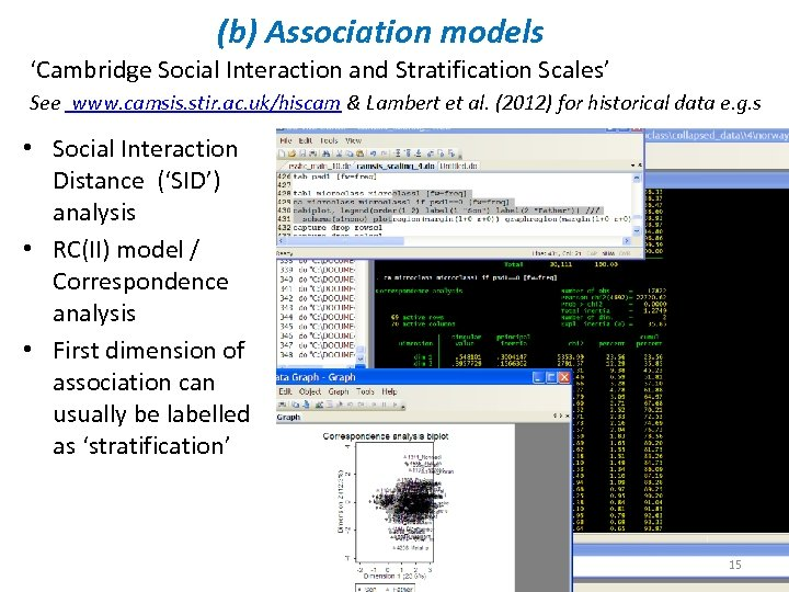 (b) Association models 'Cambridge Social Interaction and Stratification Scales' See www. camsis. stir. ac.