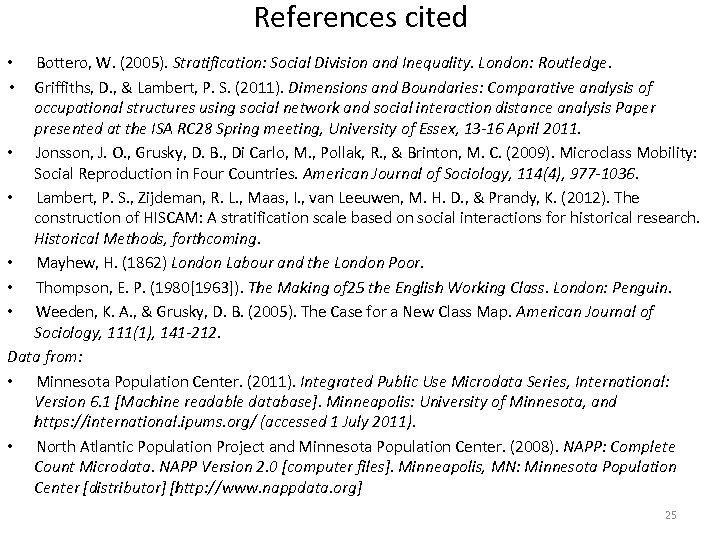 References cited Bottero, W. (2005). Stratification: Social Division and Inequality. London: Routledge. Griffiths, D.
