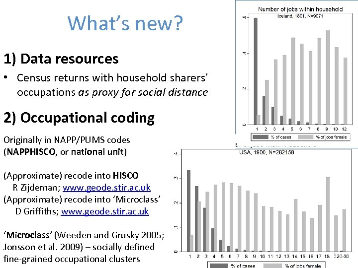 What's new? 1) Data resources • Census returns with household sharers' occupations as proxy