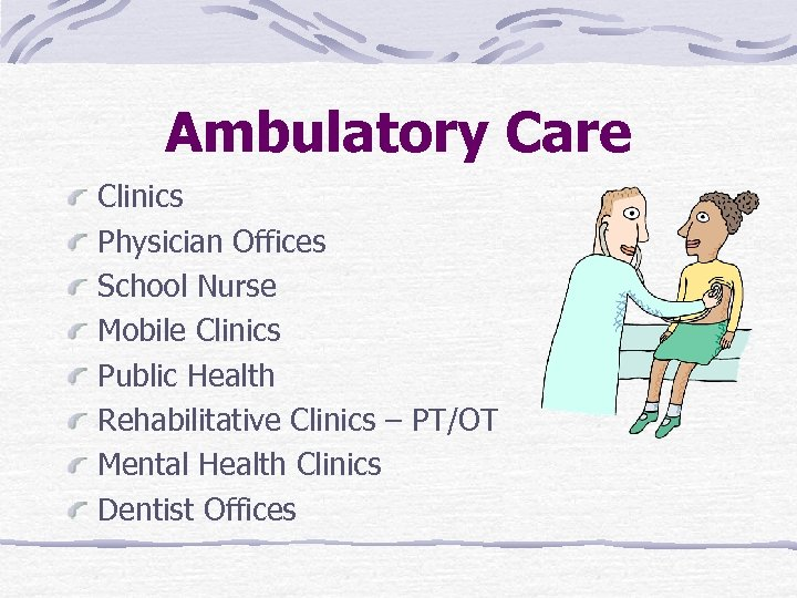 Ambulatory Care Clinics Physician Offices School Nurse Mobile Clinics Public Health Rehabilitative Clinics –