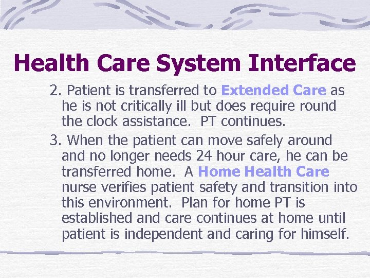 Health Care System Interface 2. Patient is transferred to Extended Care as he is