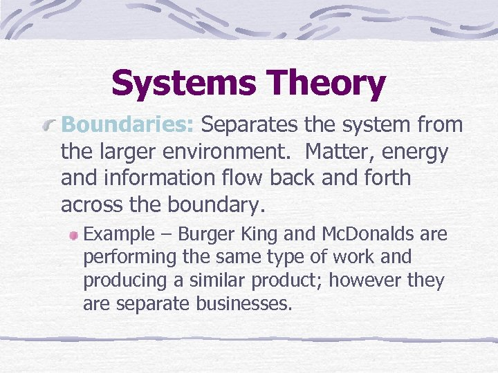 Systems Theory Boundaries: Separates the system from the larger environment. Matter, energy and information