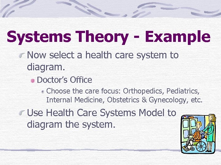 Systems Theory - Example Now select a health care system to diagram. Doctor's Office