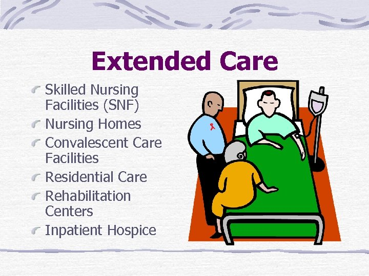 Extended Care Skilled Nursing Facilities (SNF) Nursing Homes Convalescent Care Facilities Residential Care Rehabilitation