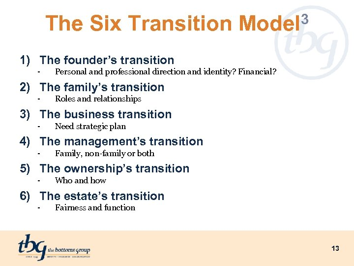 The Six Transition Model 3 1) The founder's transition - Personal and professional direction