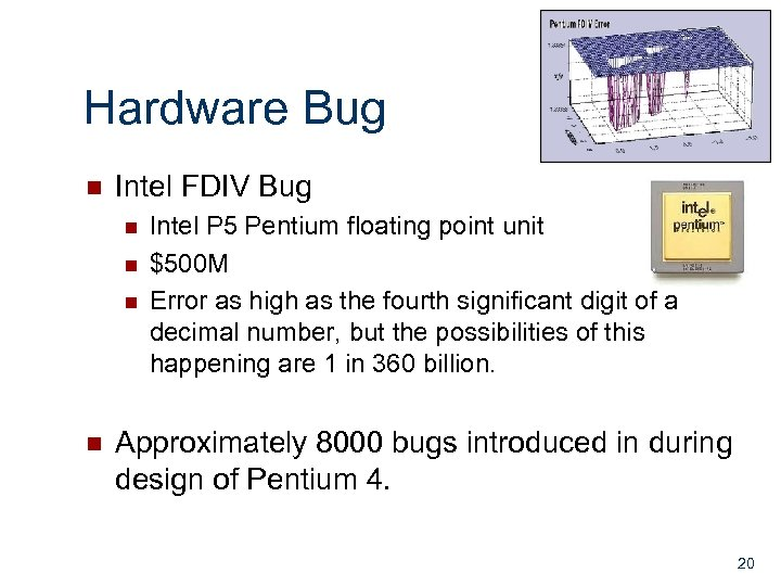Hardware Bug n Intel FDIV Bug n n Intel P 5 Pentium floating point