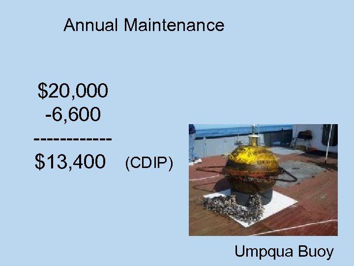 Annual Maintenance $20, 000 -6, 600 ------$13, 400 (CDIP) Umpqua Buoy