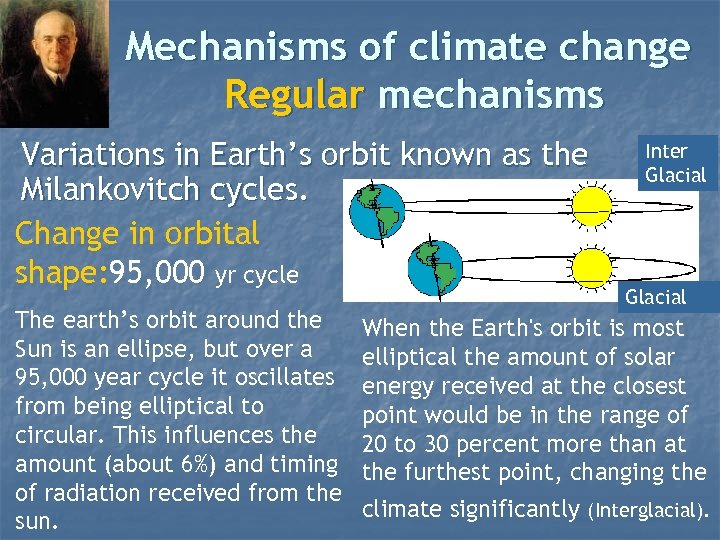 Mechanisms of climate change Regular mechanisms Variations in Earth's orbit known as the Milankovitch
