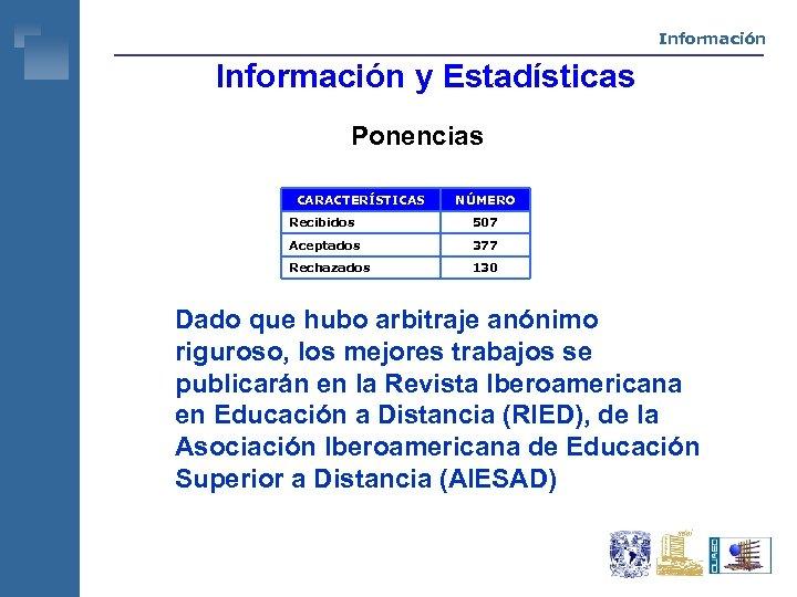 Información y Estadísticas Ponencias CARACTERÍSTICAS NÚMERO Recibidos 507 Aceptados 377 Rechazados 130 Dado que