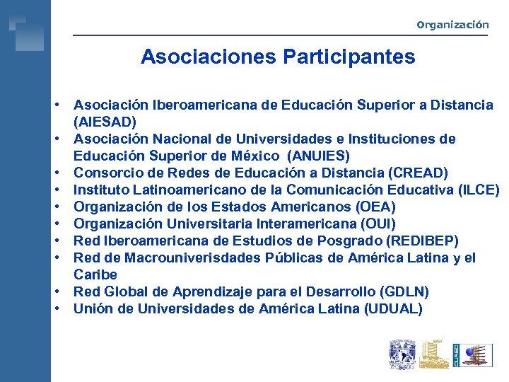 Organización Asociaciones Participantes • Asociación Iberoamericana de Educación Superior a Distancia (AIESAD) • Asociación