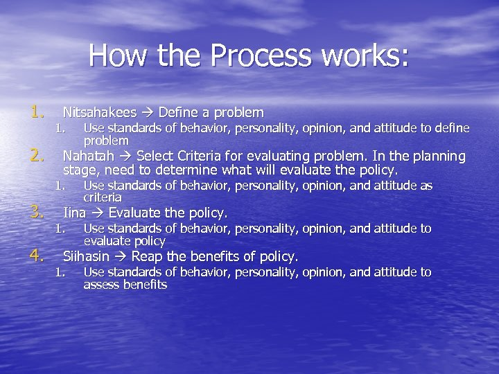 How the Process works: 1. 2. Nitsahakees Define a problem 1. Nahatah Select Criteria