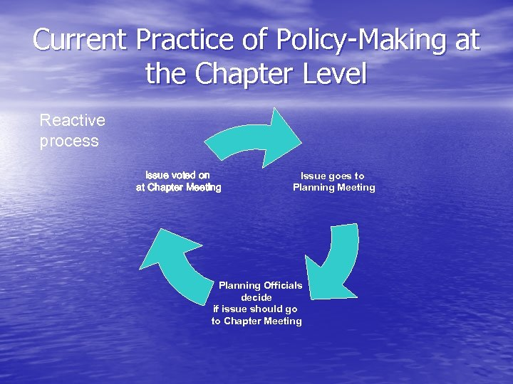 Current Practice of Policy-Making at the Chapter Level Reactive process Issue voted on at