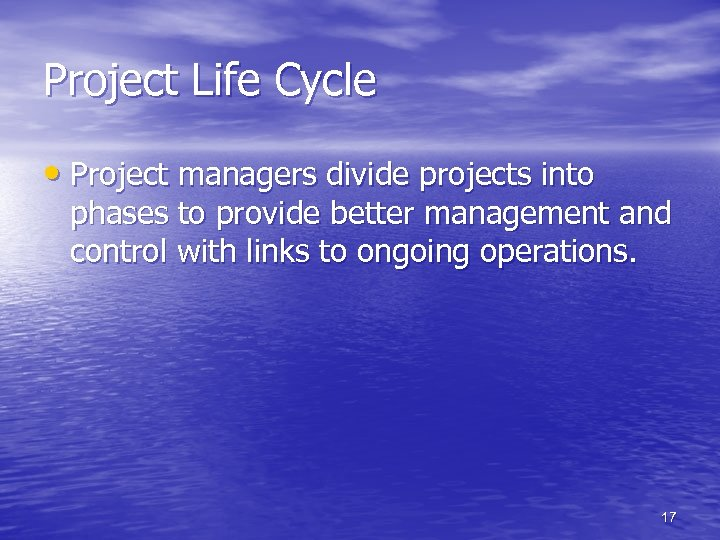 Project Life Cycle • Project managers divide projects into phases to provide better management
