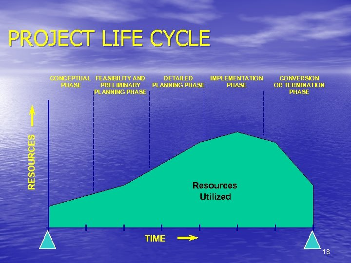 PROJECT LIFE CYCLE RESOURCES CONCEPTUAL FEASIBILITY AND DETAILED IMPLEMENTATION PHASE PRELIMINARY PLANNING PHASE CONVERSION