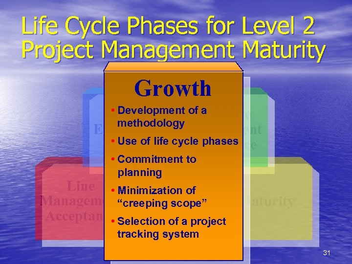 Life Cycle Phases for Level 2 Project Management Maturity Growth • Development of a