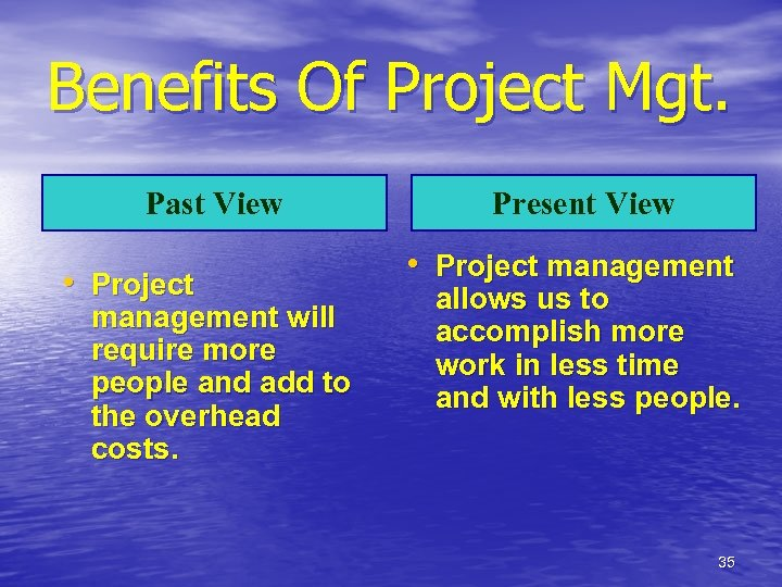 Benefits Of Project Mgt. Past View • Project management will require more people and