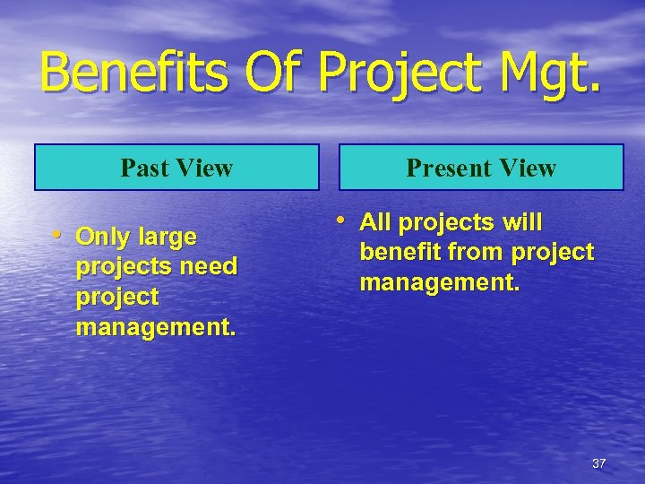 Benefits Of Project Mgt. Past View • Only large projects need project management. Present