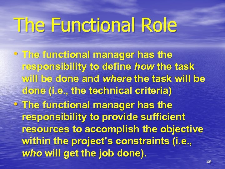 The Functional Role • The functional manager has the • responsibility to define how