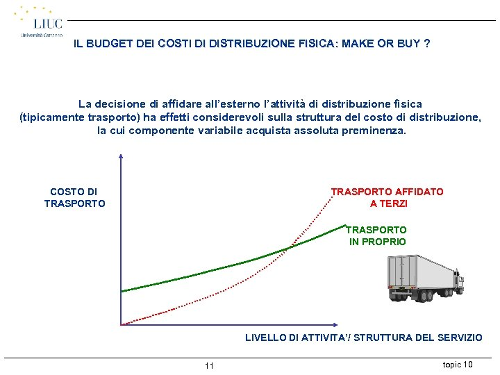 IL BUDGET DEI COSTI DI DISTRIBUZIONE FISICA: MAKE OR BUY ? La decisione di