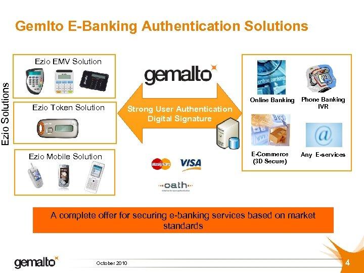 Ezio Solutions Gemlto E-Banking Authentication Solutions Ezio EMV Solution Ezio Token Solution Online Banking