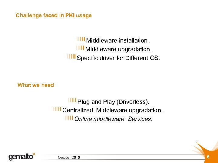 Challenge faced in PKI usage Middleware installation. Middleware upgradation. Specific driver for Different OS.