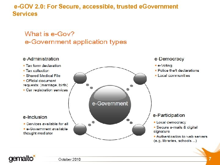 e-GOV 2. 0: For Secure, accessible, trusted e. Government Services October 2010 7