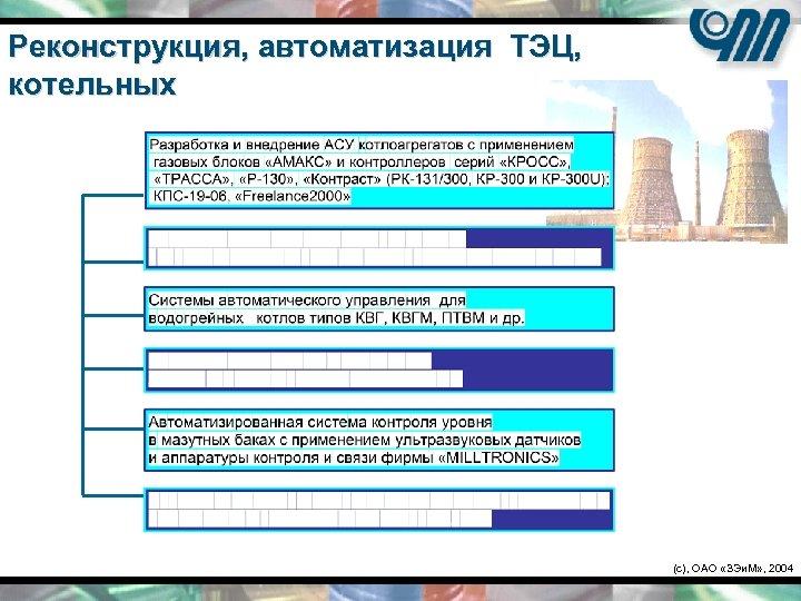 Реконструкция, автоматизация ТЭЦ, котельных (c), ОАО «ЗЭи. М» , 2004