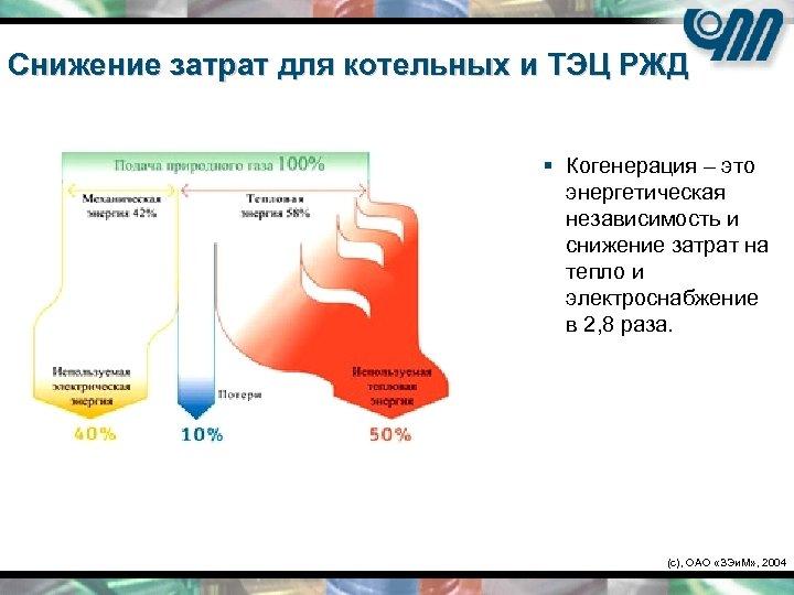 Снижение затрат для котельных и ТЭЦ РЖД § Когенерация – это энергетическая независимость и