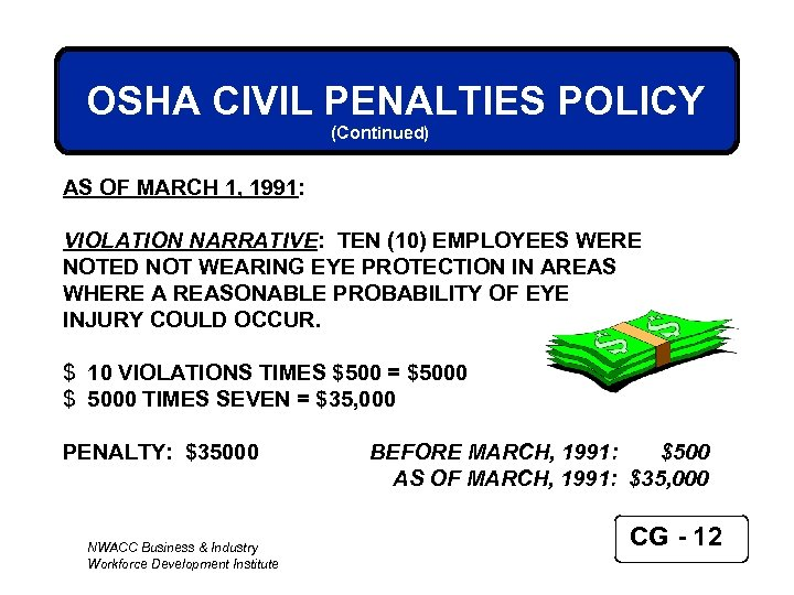 OSHA CIVIL PENALTIES POLICY (Continued) AS OF MARCH 1, 1991: VIOLATION NARRATIVE: TEN (10)
