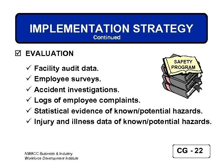 IMPLEMENTATION STRATEGY Continued þ EVALUATION ü ü ü SAFETY PROGRAM Facility audit data. Employee