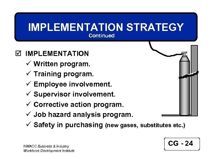 IMPLEMENTATION STRATEGY Continued þ IMPLEMENTATION ü Written program. ü Training program. ü Employee involvement.