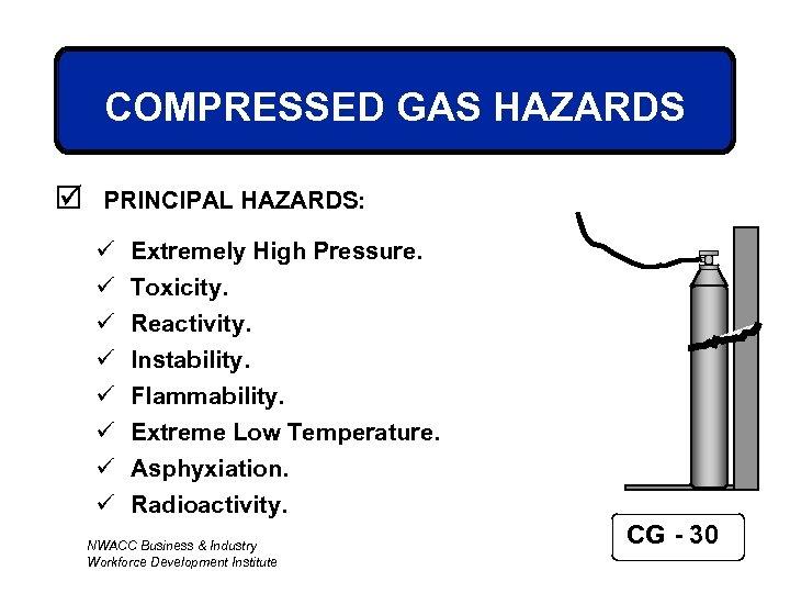 COMPRESSED GAS HAZARDS þ PRINCIPAL HAZARDS: ü ü ü ü Extremely High Pressure. Toxicity.