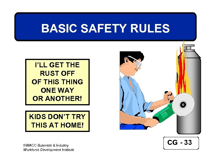 BASIC SAFETY RULES I'LL GET THE RUST OFF OF THIS THING ONE WAY OR