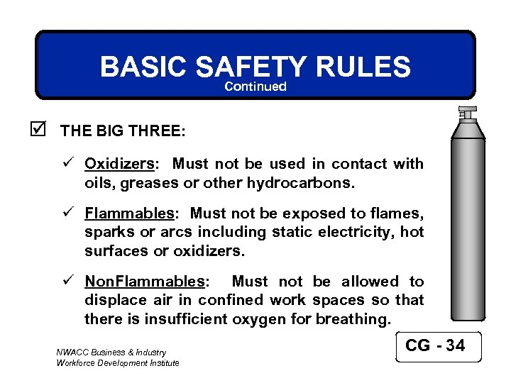 BASIC SAFETY RULES Continued þ THE BIG THREE: ü Oxidizers: Must not be used