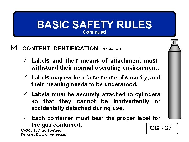 BASIC SAFETY RULES Continued þ CONTENT IDENTIFICATION: Continued ü Labels and their means of