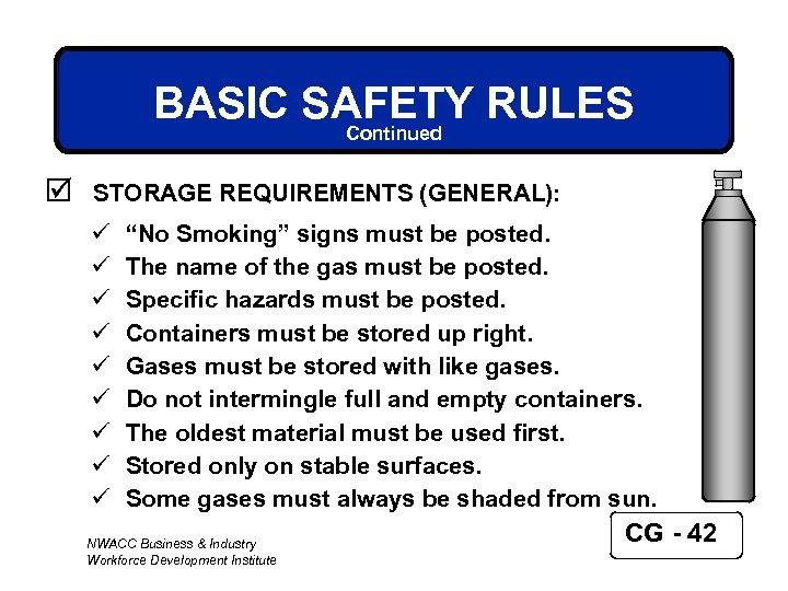 "BASIC SAFETY RULES Continued þ STORAGE REQUIREMENTS (GENERAL): ü ü ü ü ü ""No"