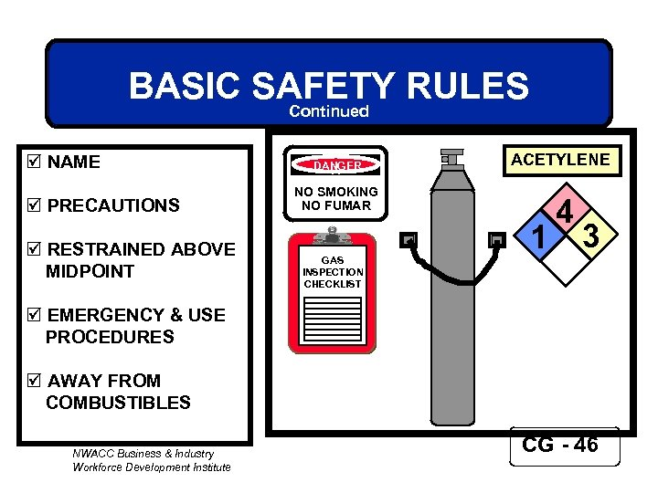 BASIC SAFETY RULES Continued þ NAME þ PRECAUTIONS þ RESTRAINED ABOVE MIDPOINT DANGER ACETYLENE