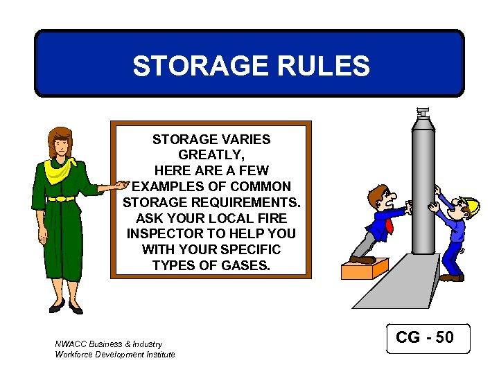 STORAGE RULES STORAGE VARIES GREATLY, HERE A FEW EXAMPLES OF COMMON STORAGE REQUIREMENTS. ASK
