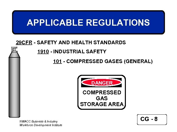 APPLICABLE REGULATIONS 29 CFR - SAFETY AND HEALTH STANDARDS 1910 - INDUSTRIAL SAFETY 101