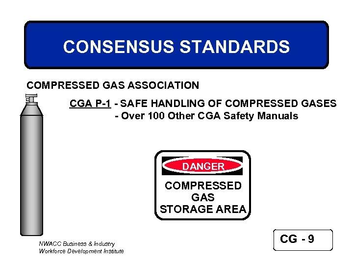 CONSENSUS STANDARDS COMPRESSED GAS ASSOCIATION CGA P-1 - SAFE HANDLING OF COMPRESSED GASES -